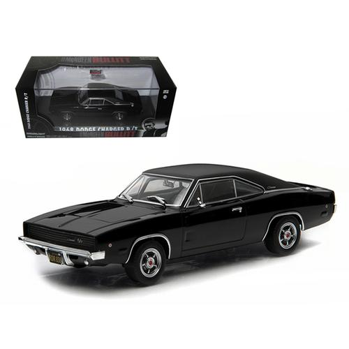 "1968 Dodge Charger Black R/T Steve McQueen ""Bullitt"" Movie (1968) 1/43 Diecast Model Car by Greenlight"