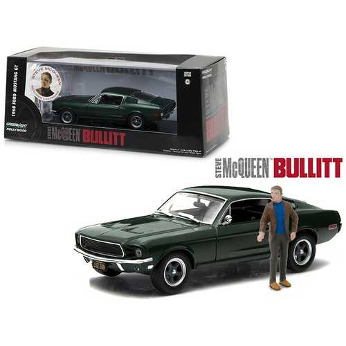 "1968 Ford Mustang GT Fastback Green Steve McQueen ""Bullitt"" Movie (1968) with Steve Mcqueen Figurine 1/43 Diecast Model Car by Greenlight"