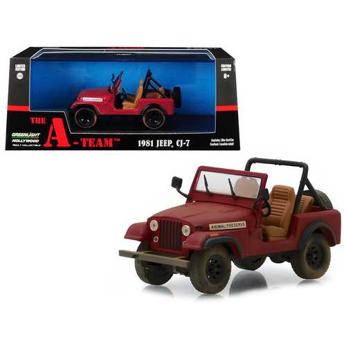 "1981 Jeep CJ-7 ""Animal Preserve"" Red ""The A-Team"" (1983-1987) TV Series 1/43 Diecast Model Car  by Greenlight"