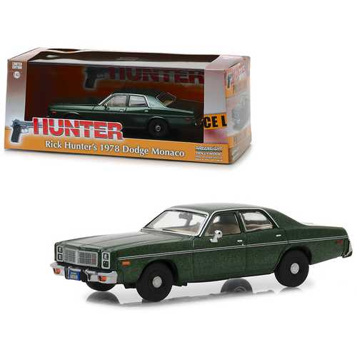 "1978 Dodge Monaco (Rick Hunter's) Green ""Hunter"" (1984-1991) TV Series 1/43 Diecast Model Car by Greenlight"
