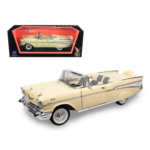 1957 Chevrolet Bel Air Convertible Cream 1/18 Diecast Model Car by Road Signature