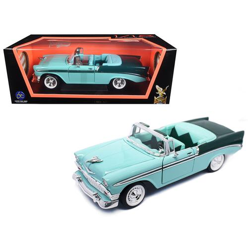 1956 Chevrolet Bel Air Convertible Green/Dark Green 1/18 Diecast Model Car by Road Signature