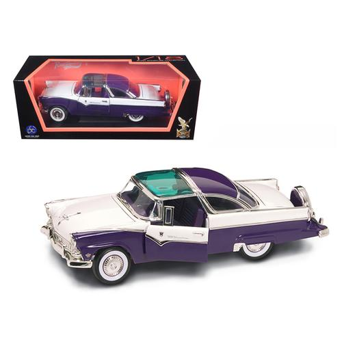 1955 Ford Fairlane Crown Victoria Purple 1/18 Diecast Model Car by Road Signature