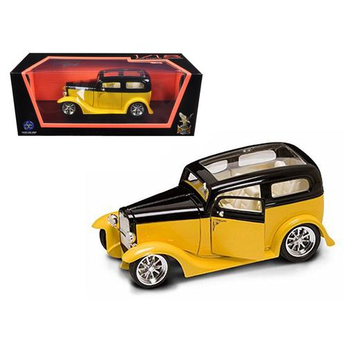 1931 Ford Model A Sedan Yellow/Black 1/18 Diecast Car Model by Road Signature