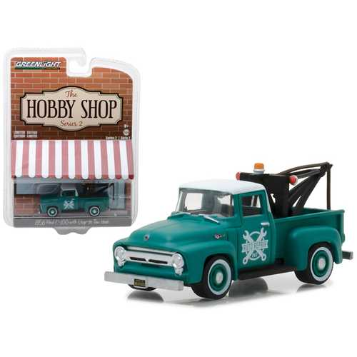 "1956 Ford F-100 Green with Drop-in Tow Hook ""The Hobby Shop"" Series 2 1/64 Diecast Model Car by  Greenlight"