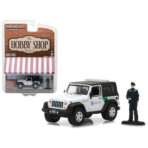 "2016 Jeep Wrangler US Customs and Border Protection with Officer Figure ""The Hobby Shop"" Series 2 1/64 Diecast Model Car by Greenlight"