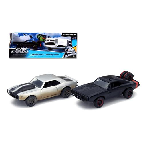 "Dom's 1970 Dodge Charger R/T Off Road and Roman's Chevrolet Camaro Z/28 ""Fast & Furious 7"" Movie Set of 2 Cars 1/32 Diecast Model Cars by Jada"