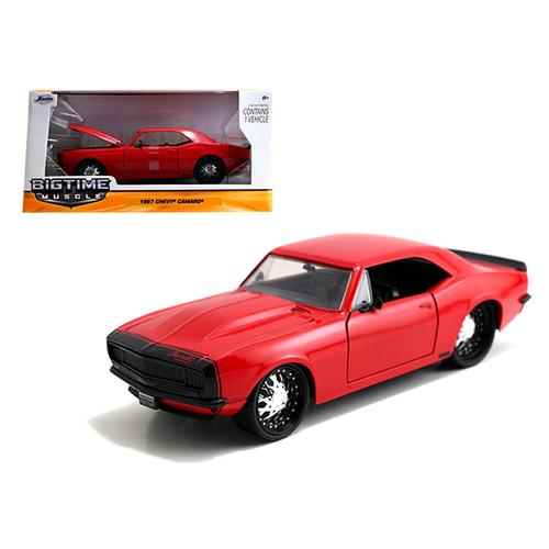 1967 Chevrolet Camaro Glossy Red / Matt Black 1/24 Diecast Model Car by Jada