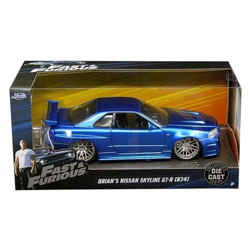 "Brian's Nissan GTR Skyline R34 Blue ""Fast & Furious"" Movie 1/24 Diecast Model Car by Jada"