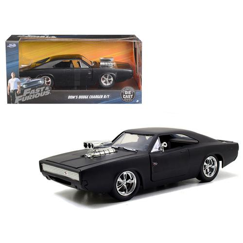 "Dom's 1970 Dodge Charger R/T Matt Black ""Fast & Furious 7"" Movie 1/24 Diecast Model Car by Jada"