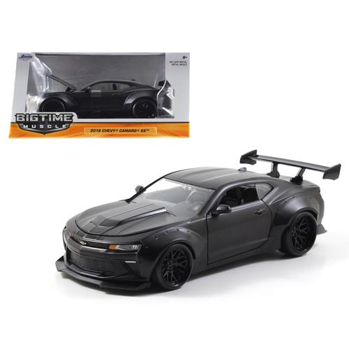 2016 Chevrolet Camaro SS Wide Body with GT Wing Primer Black 1/24 Diecast Model Car by Jada