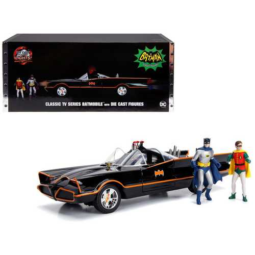 "Classic TV Series Batmobile with Working Lights, and Diecast Batman and Robin Figures ""80 Years of Batman"" 1/18 Diecast Model Car by Jada"