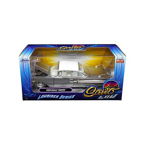 "1960 Chevrolet Impala Silver ""Lowrider Series"" Street Low 1/24 Diecast Model Car by Jada"