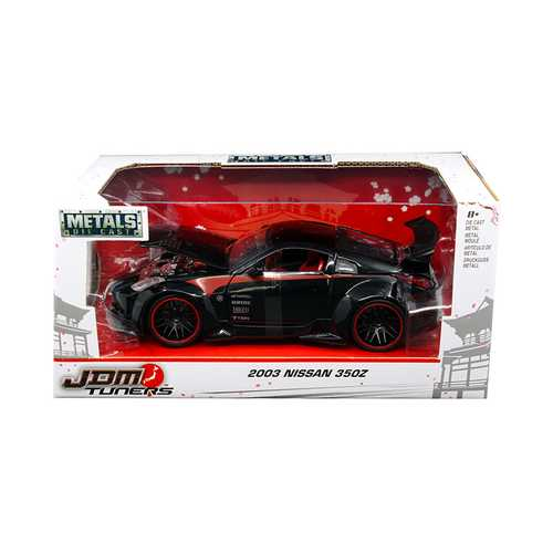 "2003 Nissan 350Z Black ""JDM Tuners"" 1/24 Diecast Model Car by Jada"