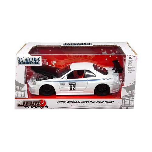 "2002 Nissan Skyline GT-R R34 White #02 ""JDM Tuners"" 1/24 Diecast Model Car by Jada"