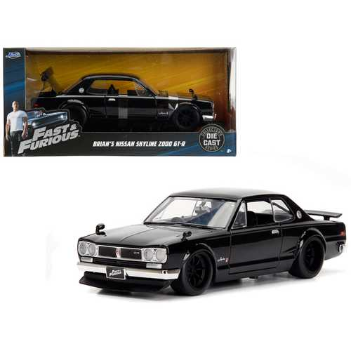 "Brian's Nissan Skyline 2000 GT-R Black from ""The Fast and the Furious"" Movie 1/24 Diecast Model Car by Jada"