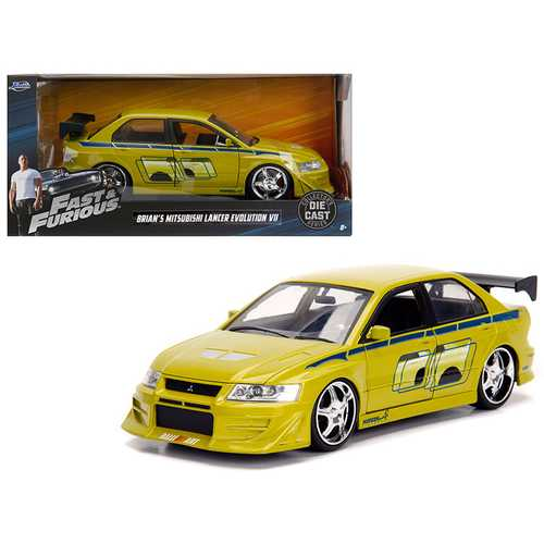 "Brian's Mitsubishi Lancer Evolution VII ""The Fast and the Furious"" Movie 1/24 Diecast Model Car by Jada"