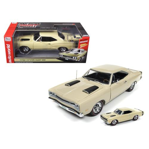 1969 Dodge Coronet Super Bee Y3 Cream 1/18 & 1/64 2 Pack Limited Edition to 1002pc Diecast Model Car by Autoworld