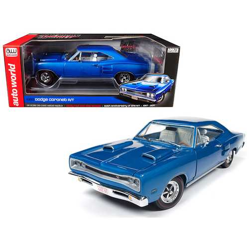 1969 Dodge Coronet R/T B5 Blue 50th Anniversary Limited Edition to 1002 pcs Worldwide 1/18 Diecast Model Car by Autoworld