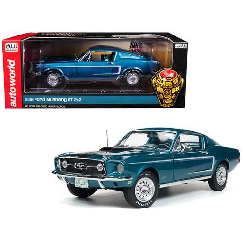 "1968 Ford Mustang GT 2+2 Aqua Blue ""Class of 68"" 50th Anniversary Limited Edition to 1002 pieces Worldwide 1/18 Diecast Model Car by Autoworld"