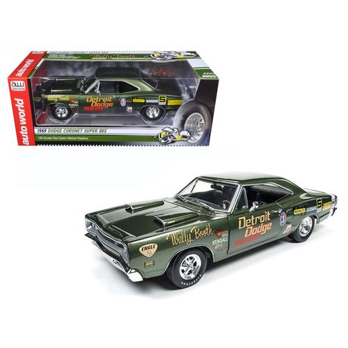 1969 Dodge Super Bee Wally Booth F8 Green Limited Edition to 1002pcs 1/18 Diecast Model Car by Autoworld