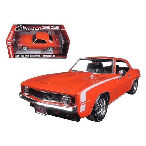 Custom 1969 Chevrolet Camaro SS Orange Limited Edition to 750pc 1/24 Diecast Model Car by Autoworld