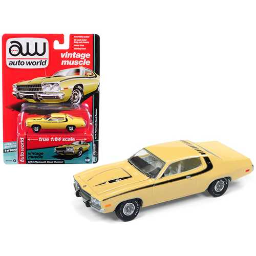 "1974 Plymouth Road Runner Yellow Blaze with Black Stripes ""Auto World's Premium"" Limited Edition to 1800 pieces Worldwide 1/64 Diecast Model Car by Autoworld"