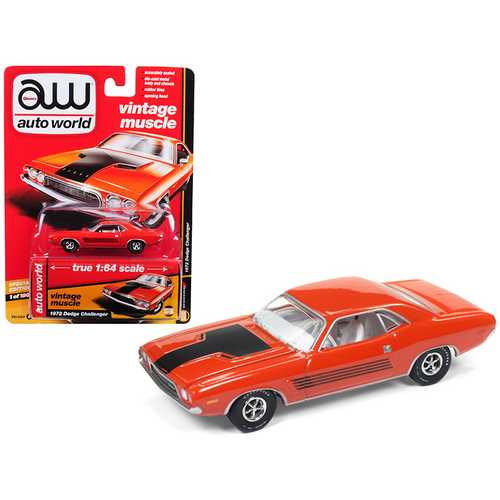 "1972 Dodge Challenger Rallye Hemi Orange ""Auto World's Premium"" Limited Edition to 1800 pieces Worldwide 1/64 Diecast Model Car by Autoworld"