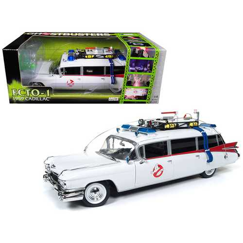"1959 Cadillac Ambulance Ecto-1 From ""Ghostbusters 1"" Movie 1/18 Diecast Model Car by Autoworld"