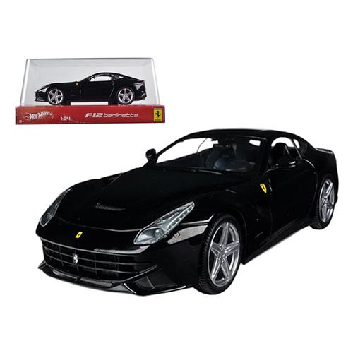 Ferrari F12 Berlinetta Black 1/24 Diecast Car Model by Hotwheels