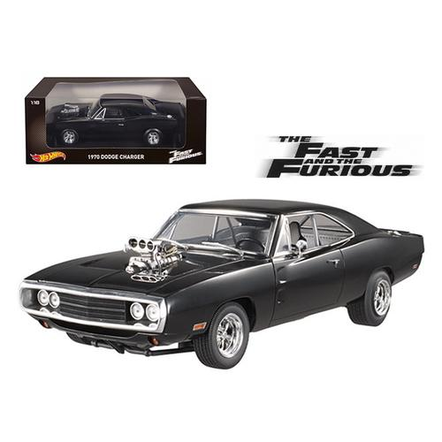 "1970 Dodge Charger Black ""The Fast & Furious"" Movie (2001) 1/18 Diecast Model Car by Hotwheels"