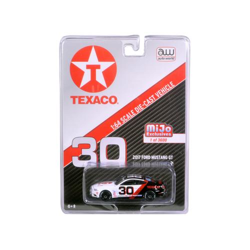 2017 Ford Mustang GT Texaco Racing #30 Black and White Limited Edition to 3600pcs 1/64 Diecast Model Car by Autoworld