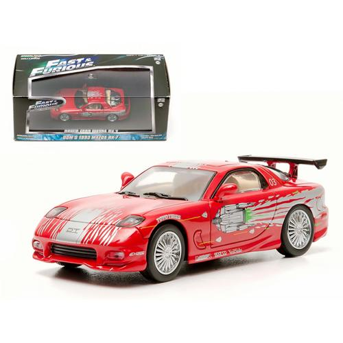 "Dom's 1993 Mazda RX-7 Red ""The Fast and The Furious"" Movie (2001) 1/43 Diecast Car Model by Greenlight"