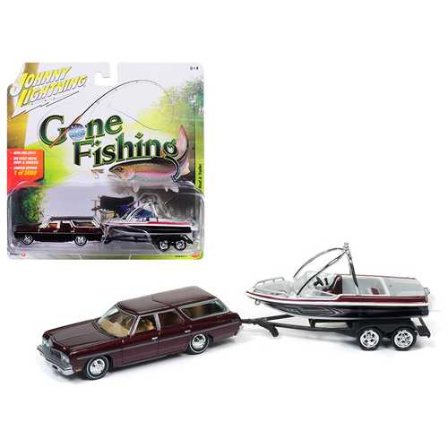 "1973 Chevrolet Caprice Station Wagon Dark Red Poly with Malibu Boat ""Gone Fishing"" 1/64 Diecast Model Car by Johnny Lightning"