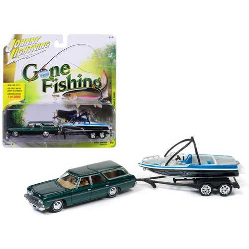 "1973 Chevrolet Caprice Station Wagon Dark Green Poly with Malibu Boat ""Gone Fishing""1/64 Diecast Model Car by Johnny Lightning"
