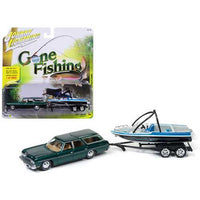 1973 Chevrolet Caprice Station Wagon Dark Green Poly with Malibu Boat