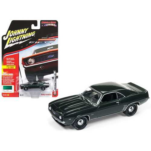 "1969 Chevrolet Camaro ZL1 Fathom Green Poly 50th Anniversary Limited Edition to 1800pc Worldwide Hobby Exclusive ""Muscle Cars USA"" 1/64 Diecast Model Car by Johnny Lightning"