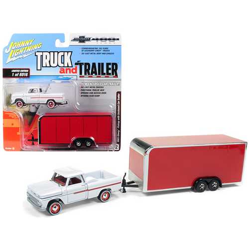 "1965 Chevrolet Pickup Truck White with Enclosed Red Car Trailer Limited Edition to 6,016 pieces Worldwide ""Truck and Trailer"" Series 2 ""Chevrolet Trucks 100th Anniversary"" 1/64 Diecast Model Car by Johnny Lightning"