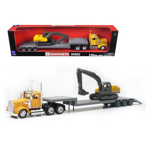 Kenworth W900 Lowboy Yellow With Backhoe Excavator 1/43 Model by New Ray