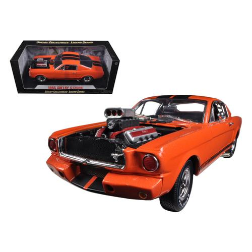 1965 Ford Shelby Mustang GT350R With Racing Engine Orange With Black Stripes 1/18 Diecast Car Model by Shelby Collectibles
