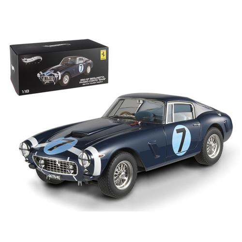 1961 Ferrari 250 GT Berlinetta Passo Corto 'SWB' Goodwood Tourist Trophy #7 Blue Elite Edition 1/18 Diecast Model Car by Hotwheels