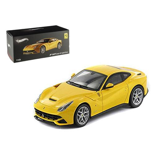 Ferrari F12 Berlinetta Yellow Elite Edition 1/43 Diecast Car Model by Hotwheels