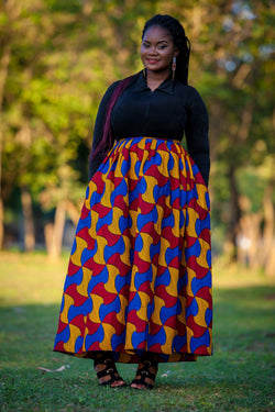 African maxi skirt with side pockets