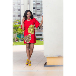 OMA RED SHIFT DRESS WITH ANKARA ROSE PATTERN