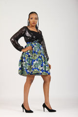 Bisi-Sequins and ankara mix wrap dress with large sleeves