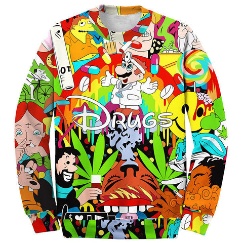 3D 'Drugs' Unisex Sweatshirt - A Stoners Heaven