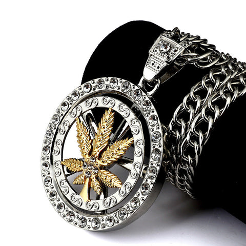 Weed Leaf Spin Pendant Necklace - A Stoners Heaven