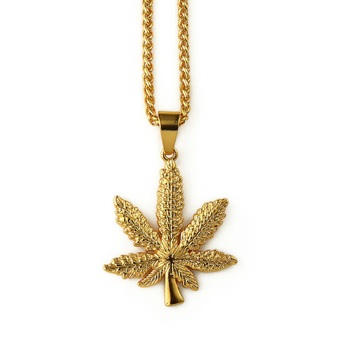 Gold Marijuana Leaf Necklace - A Stoners Heaven