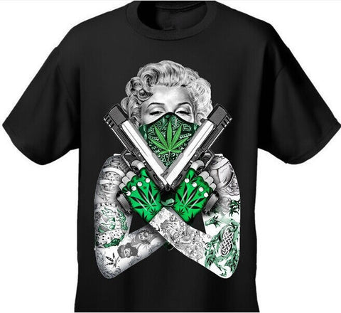 Marilyn Monroe Cross Pistols Weed Leaf 'Gangster' T Shirt - A Stoners Heaven