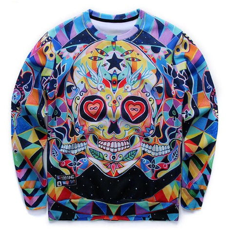 3D Abstract Colorful Skull Sweatshirt - A Stoners Heaven